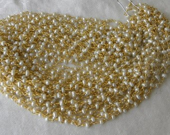 Pearl Rosary Chain Beads 9 to 18 Inches Gold Vermeil Chain 3.5 to 4mm White Freshwater Pearl Rosary Chain Take 10% Off Pearl Jewelry Supply
