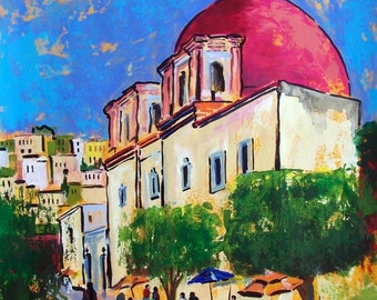 """Sale Original painting art of Guanajuato in Mexico street and church architecture home decor 19.5""""x 25.5""""  acrylic on paper"""