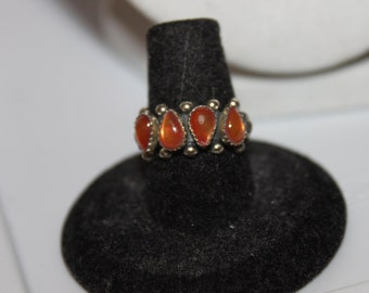 1960 Sterling Red Jelly Belly Ring- Sz 7 1/4