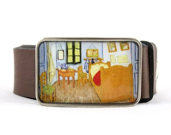 Van Gogh Belt Buckle, Bedroom in Arles Belt Buckle, Fine Art, resin belt buckle