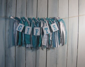 Tattered Fabric Lace Garland Teal & Gray Gifts Banner Shabby Chic Vintage Barn Wedding Romantic Prairie