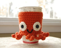 Octopus Coffee Cozy, Crocheted Coffee Cup Animal Cozy, Crocheted Animal Cozies, Animal Cup Cozies, Animal Cozies, Sea Creature Coffee Cozy