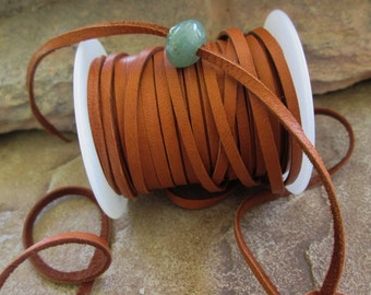 3 MM Deerskin Leather Lace Saddle Brown Soft Jewelry Cord 3 Yards