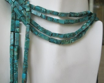 Natural Square Tube Turquoise Beads 14 MM x 4 mm Blue Green 14 Beads