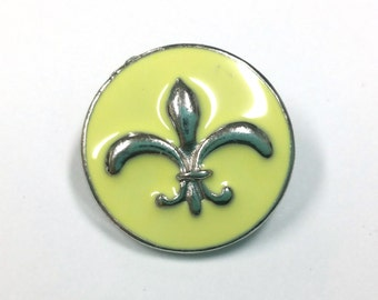 1 PC 18MM Yellow Enamel Fleur De Lis Silver Candy Snap Charm Limited Edition CC1194