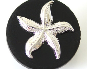 1 PC 18MM Black Starfish Resin Silver Candy Snap Charm kb6811 CC1489