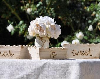 Rustic-Beach-Shabby Chic~ Wedding~ Set of Trays~Candy Bar~Love Is Sweet
