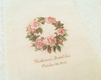 Bridal Tea Favor Bag-Rose Wreath Wedding Favor Muslin Bags-Bridal Shower Favor Drawstring Bags - 5x7