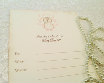 Baby Shower  Invitations-Owl invites-Baby Shower Decorations-Animal Shower Party-Set of 10