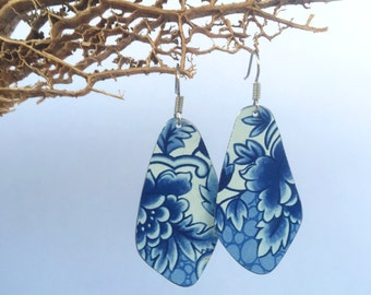 Recycled Tin Earrings // Blue French Pattern // Repurposed Wearable Art