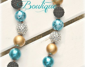 Teal and Gold with Antique Bronze and Copper Chunky Bead Necklace