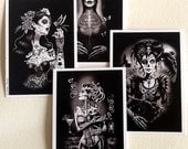 Gothic Art,Day of the Dead Art, Day of the Dead Picture ,Dia De Los Muertos, Black and White, home decor, Crow, Postcard set x 4
