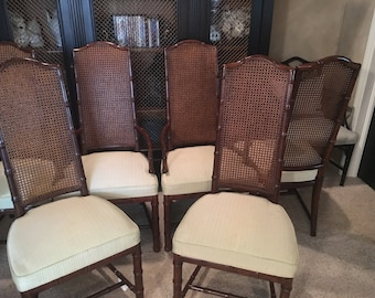 Set of six (6) Faux Bamboo/Cane Henredon Dining Chairs