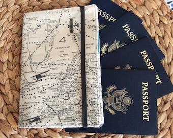 Family Passport Holder, Holds 6 Passports, APO Address, World Map International Travel, Travel Accessory, Family Cruise, Wallet