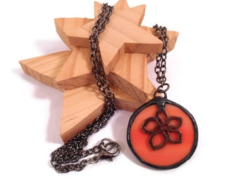 Stained Glass Necklace Orange Flower Necklace Handmade Glass Jewelry Pendant Glass and Metal Jewelry Handmade Stained Glass Flower Pendant