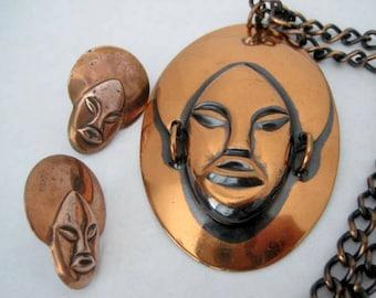 Tribal Face Copper Necklace Earrings Boho Pendant