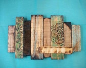 Custom Order for Jeannine | Wooden Bohemian Wall Sculpture with Floating Shelf in Blue and Green | Home Goods | Wall Hanging | Candle Holder