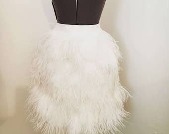 Custom White Ostrich Feather Skirt