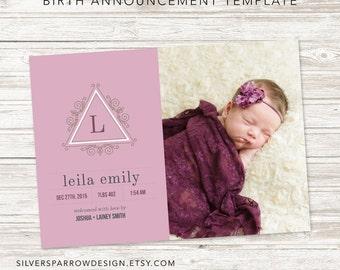 Birth Announcement, Classic Photo Card, Birth announcement template, custom digital file, Purple, Baby Boy, Custom colour, customizable