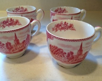 Pink transferware Johnson Brothers  cups  tea cups  coffee cups
