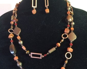 Copper and Goldstone Necklace and Earring Set