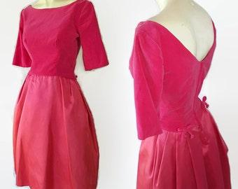 50s 60s Pink Velvet Satin Party Prom Vintage Wedding Tulle Petticoat