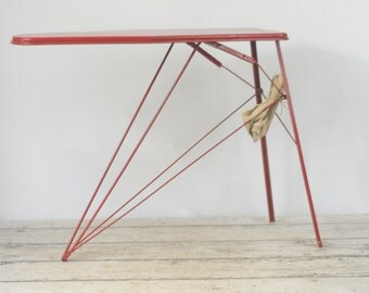 Vintage 1950s Child Size Metal Ironing Board With Original Cover