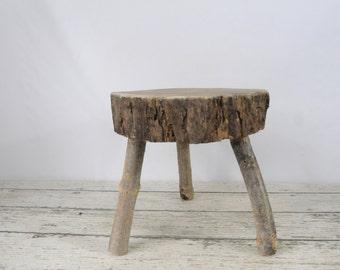 Vintage/Antique Wood Stool Milking Stool Step Stool Foot Stool Kitchen Stool