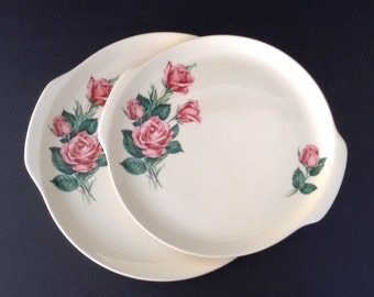 """2 - Handled Chop Plates Ballerina Universal Potteries Pink/Red Rose Bud Union Made in USA Oven-Proof 2 Plates - 10 1/2"""" and 12"""""""