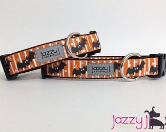 Orange and Silver Foil Black Bats Halloween Dog Collar