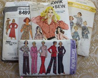 Four Vintage 1970's Sewing Patterns- Women's Sizes 18 - 20- 22- 40 -/ 42 inch bust-  Dress, Blouse, Pant Suit
