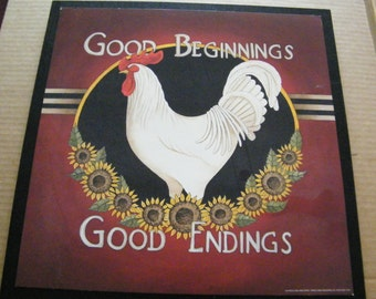 "13x13"" Wood Country Kitchen Rooster Chicken Sunflowers Good Beginnings Endings Wooden art Sign"