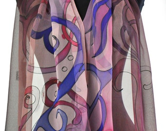 Hand painted silk scarf/Painting on hand silk chiffon/Abstract violet scarf/Woman chiffon accessory/Gift for mother/Handpainted luxury scarf