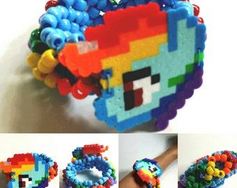 Rainbow Dash Perler Kandi Cuff - Rave - Festival - My Little Pony - Ready to ship