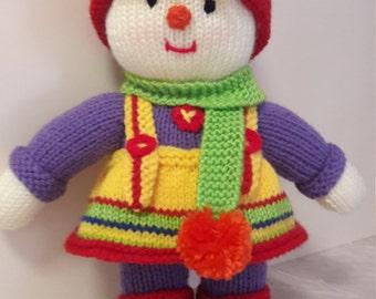 Scarecrow Twin . Scarecrow Family. Twin Dolls. Hand Knit Dolls. Young Girl. Jean Greenhowe. Rainbow Hat. Pom Poms