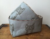 Cat Fabric Basket, Cute Cat Fabric Bin, Blue Fabric Basket, Brown Gingham Check, Small Fabric Organizer, Cute Bin