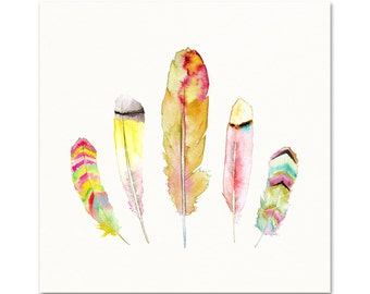 Feather Art.   Archival Quality Print of my Original Watercolor.