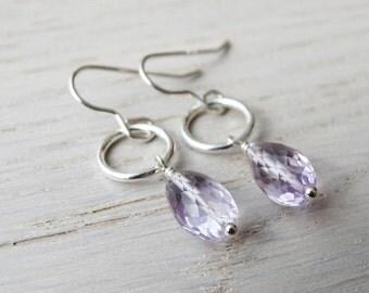 Silver & Amethyst Hoop Earrings - Sterling Silver
