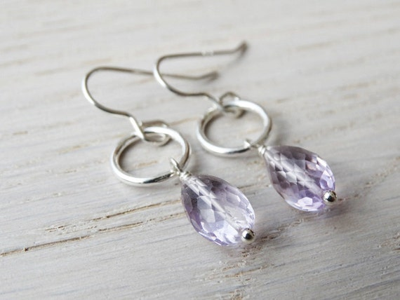 Silver & Amethyst Hoop Earrings - Sterling Silver