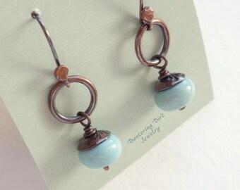 Mint Green Drop Earrings on Small Hoops, Small Lampwork Glass Earrings, Petite Glass Bead Earrings, Simple Earrings,Artisan Copper Jewelry