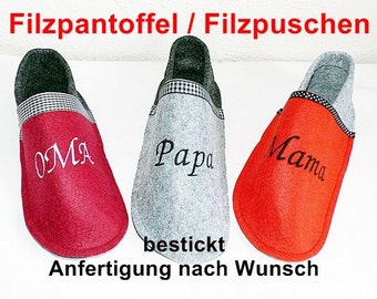 Felt slippers - Wishing name embroidered