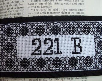 Sherlock Holmes Bookmark Blackwork Embroidery Cross stitch Pattern Only PDF Download