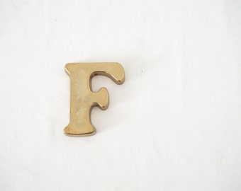 Solid Metal Letter F Paper Weight Typography Initial Monogram