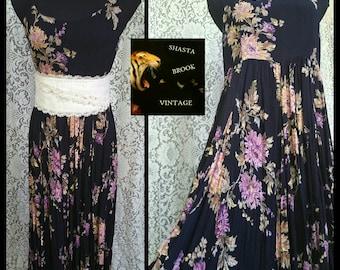90s Long Sleeveless Languid Floral Dress - Lavender Pink Flowers - 90s Calico Grunge Revival Dress - Festival Fashion - Womens XL Plus Size