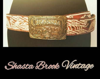 Vintage Leather Belt with Chickasha Brass Belt Buckle - White Embroidery Leather Belt - Horses - Chickasha Centennial Collector Series 1986