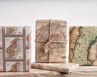 Scandinavian Map / Wrapping Paper / 12 Sheets