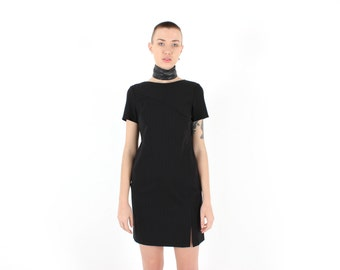 90s Chic Minimal Simple Fitted Bandage / Bodycon Wiggle Cocktail Mini Tee Dress