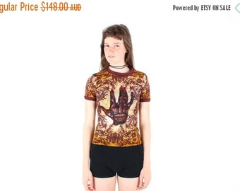 10,000 LIKES 7 Day Sale 90s JEAN PAUL Gaultier Printed Mesh Stretch Short Sleeve Crop Top Tee w/ Graphic Tribal Print
