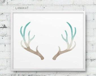 Mint & Sand Antlers Print. Triangle Geometric Print. Antlers Wall Art. Beige Teal Geometric Art. Deer Wall Art. Home Office Decor. Printable