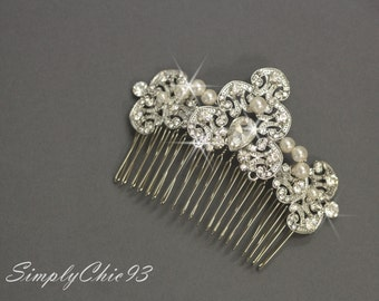 Vintage Art Deco Style Comb, Bridal comb, Silver Filigree Comb, Ivory Pearls, Wedding Accessory, Bridal hair comb, Tiara,